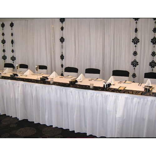 WHITE BOXED PLEATED TABLE SKIRTING