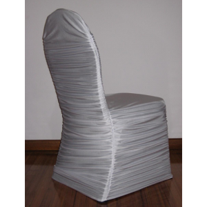 WHITE RUFFLED LYCRA CHAIR COVER